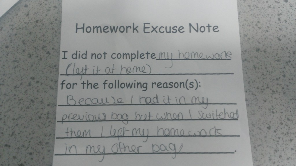 Top ten homework excuses